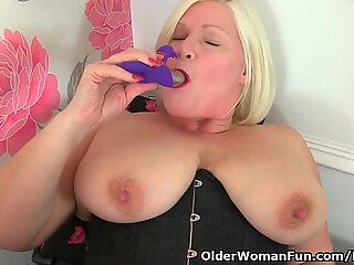 british grannie Lacey Starr undresses off at the office and masturbates