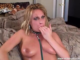 Harmony Rose covers her cute face with all the cum she can squeeze out