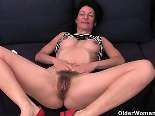 Granny in soaked undies finger-tickling fur covered and swollen cunt