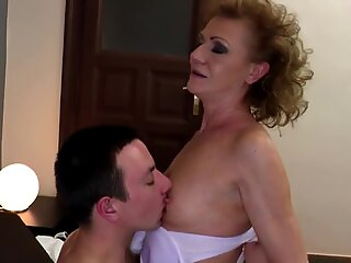 Granny fucked into hairy pussy with young cock