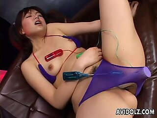 Asian bitch getting her wet pussy sex toy stimulated