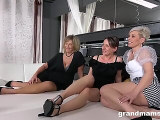 Young Babe handles grannies with a strap-on