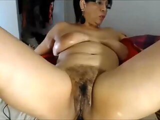 Hairy Pussy Latina Mother Riding Buttplug on MILFWebcamShow.com