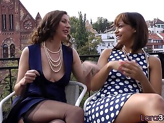 Classy british milf fingered on all fours