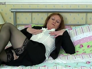 Old skinny British office lady gets naughty