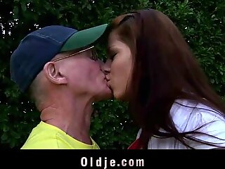 older Your porn Teen enjoys anal invasion sex with grandpa and swallows his juicy cock