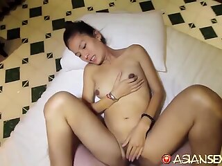 Horny bored Asian spinster spends afternoon getting off with white tourist she just met