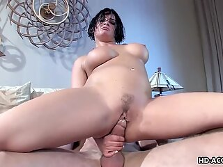 Brunette babe gets to be ass fucked with a big one