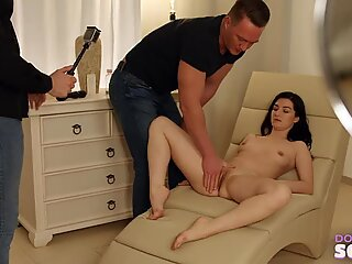 Doc Squirt - Juicy brunette fucked by two guys