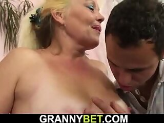 Old hairy blonde mature woman