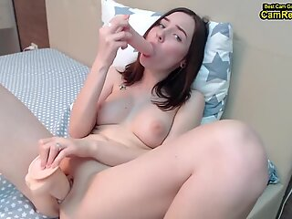 Cute Teenage With Nice Breasts Masturbates With Big Rubber Dong