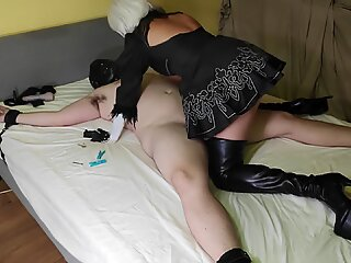 Teasing, Edging, Facesitting & Creampie by 2B Cosplay Goddess in Thigh High Leather Boots