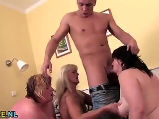Three matures fucked and facialed by young stud