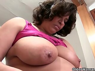 Lactating grandmother with giant udders loves to masturbate
