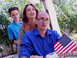 Mom gym and comrade s brother   playmate s sister in front of Awesome 4th Of July