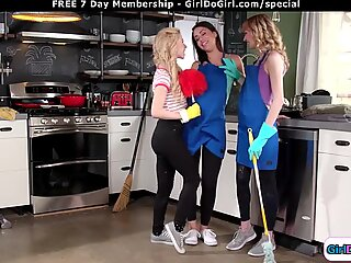 3 cleaning gfs lick n squirt on the job