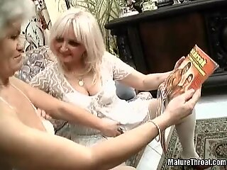 Two crazy grannies are feeling hot