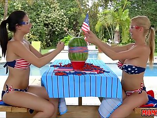Pussy by the Pool for Mom and Teen