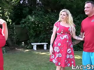 Seductive blonde  MILF Lacey Starr in family threesome