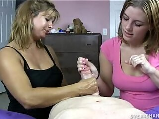 Teen and MILF jointly jizz cock