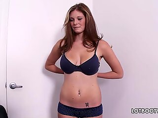 Fat ass and big tits amateur Amber sucking and gets fucking